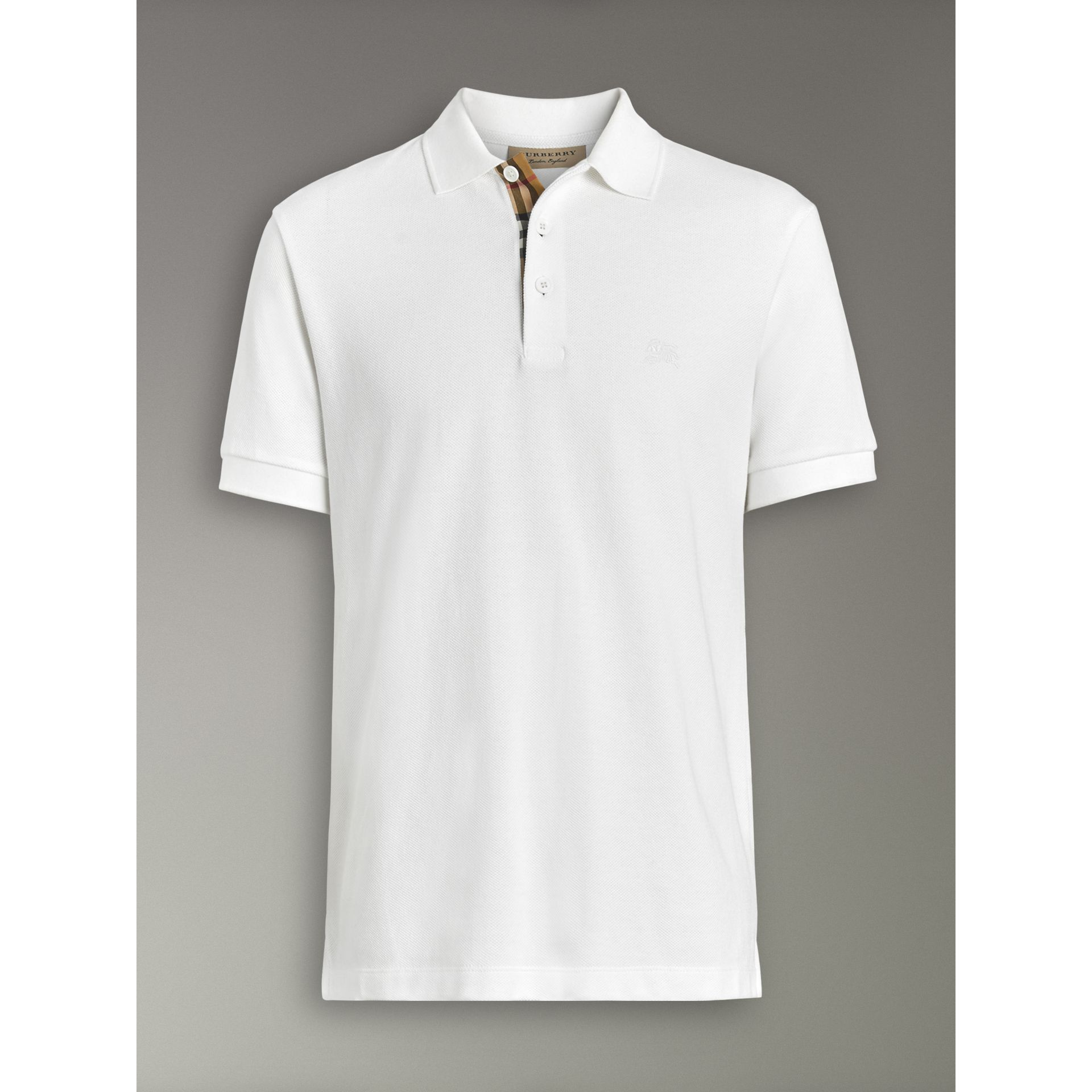 Check Placket Cotton Polo Shirt in White - Men | Burberry - gallery image 3