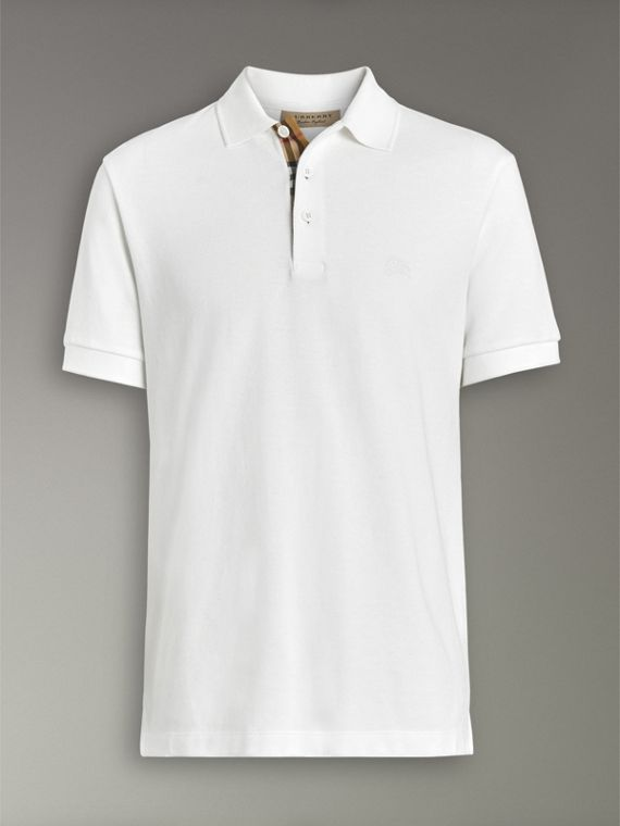 Check Placket Cotton Polo Shirt in White - Men | Burberry - cell image 3