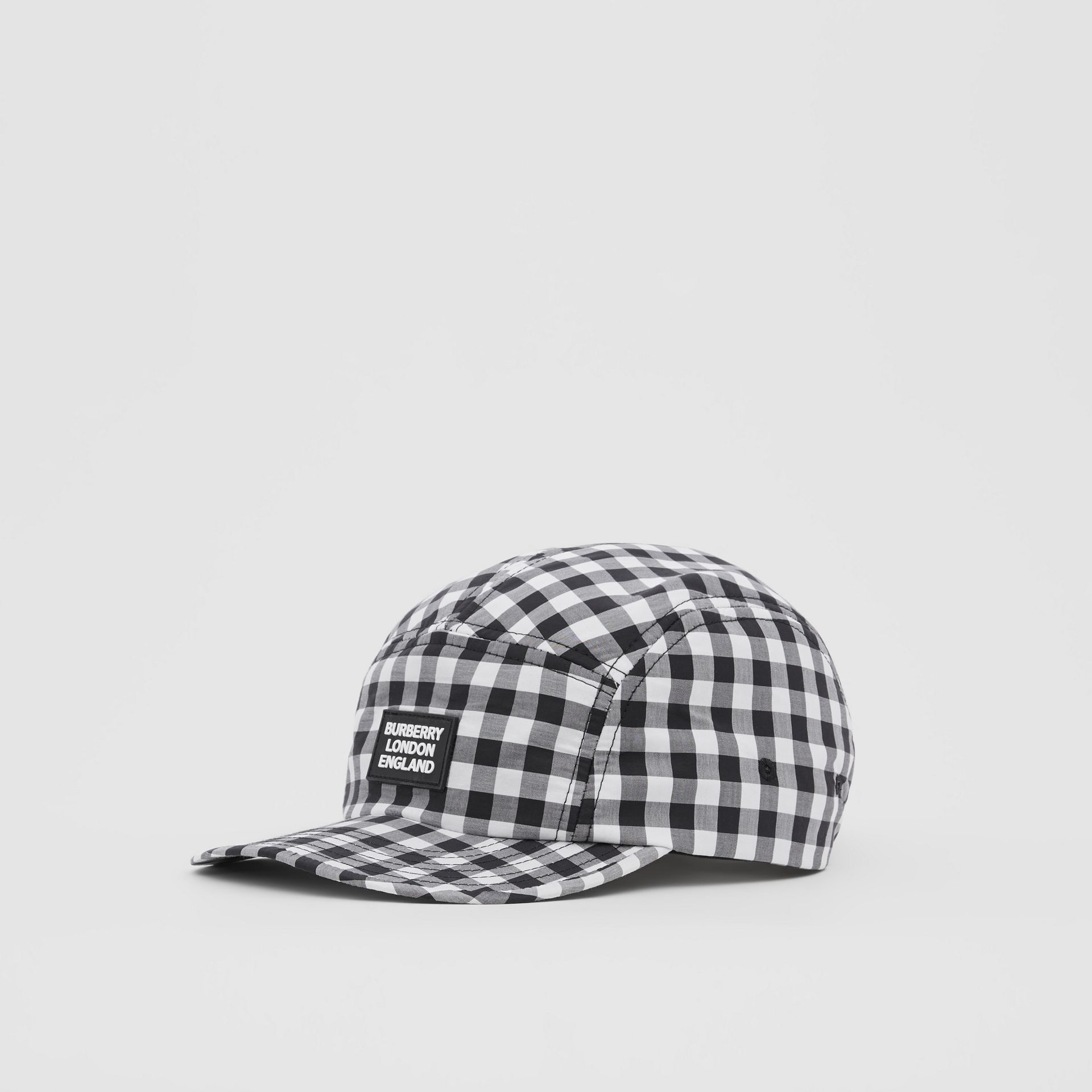 Logo Appliqué Gingham Cotton Cap in Black/white   Burberry United States - gallery image 5