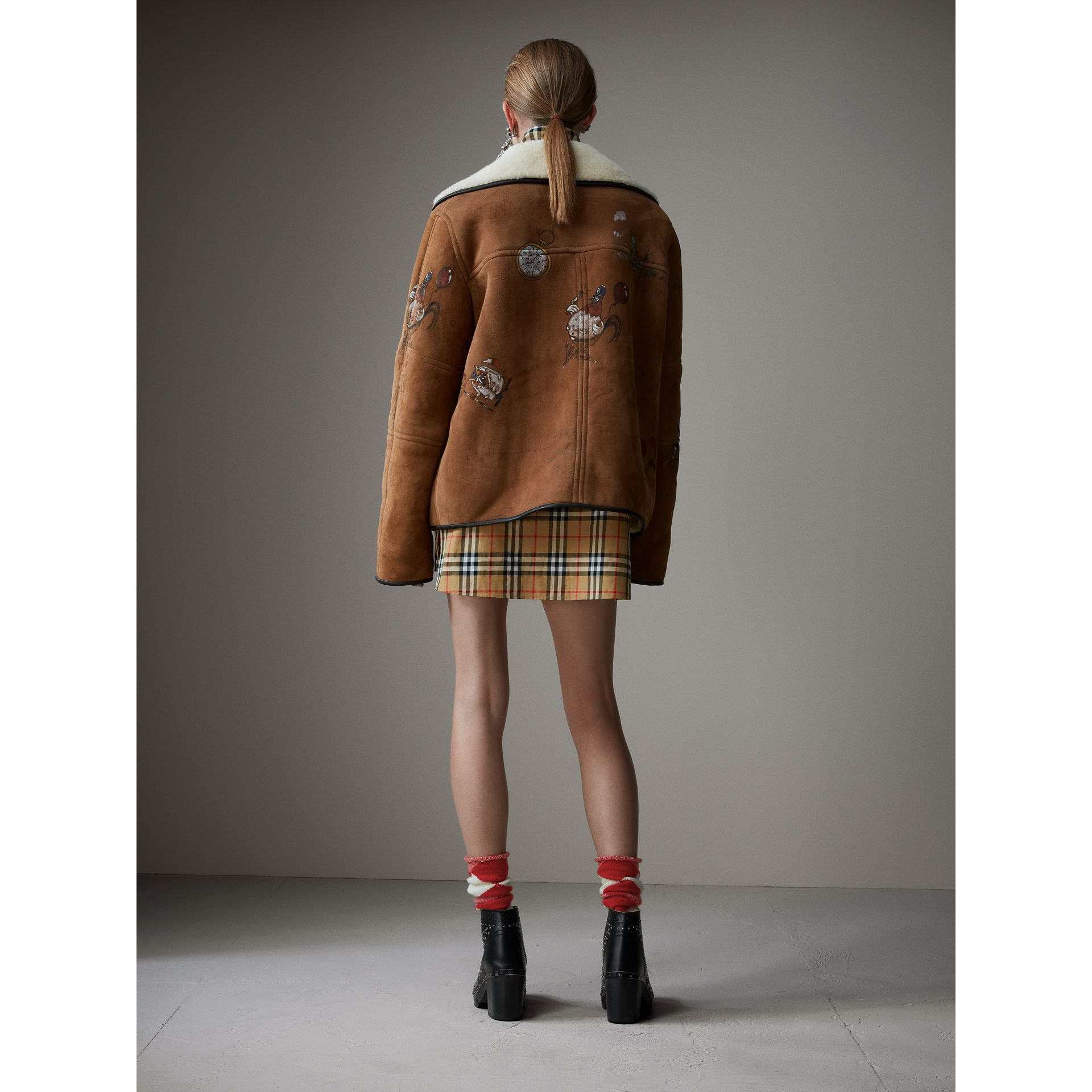 Sketch Print Shearling Jacket in Caramel - Women | Burberry - gallery image 2