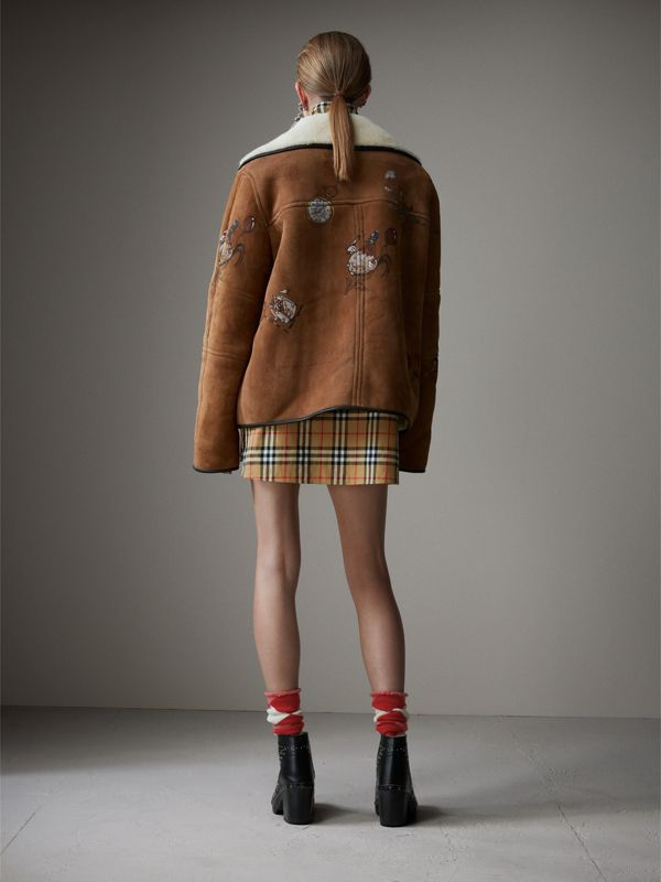 Sketch Print Shearling Jacket in Caramel - Women | Burberry - cell image 2