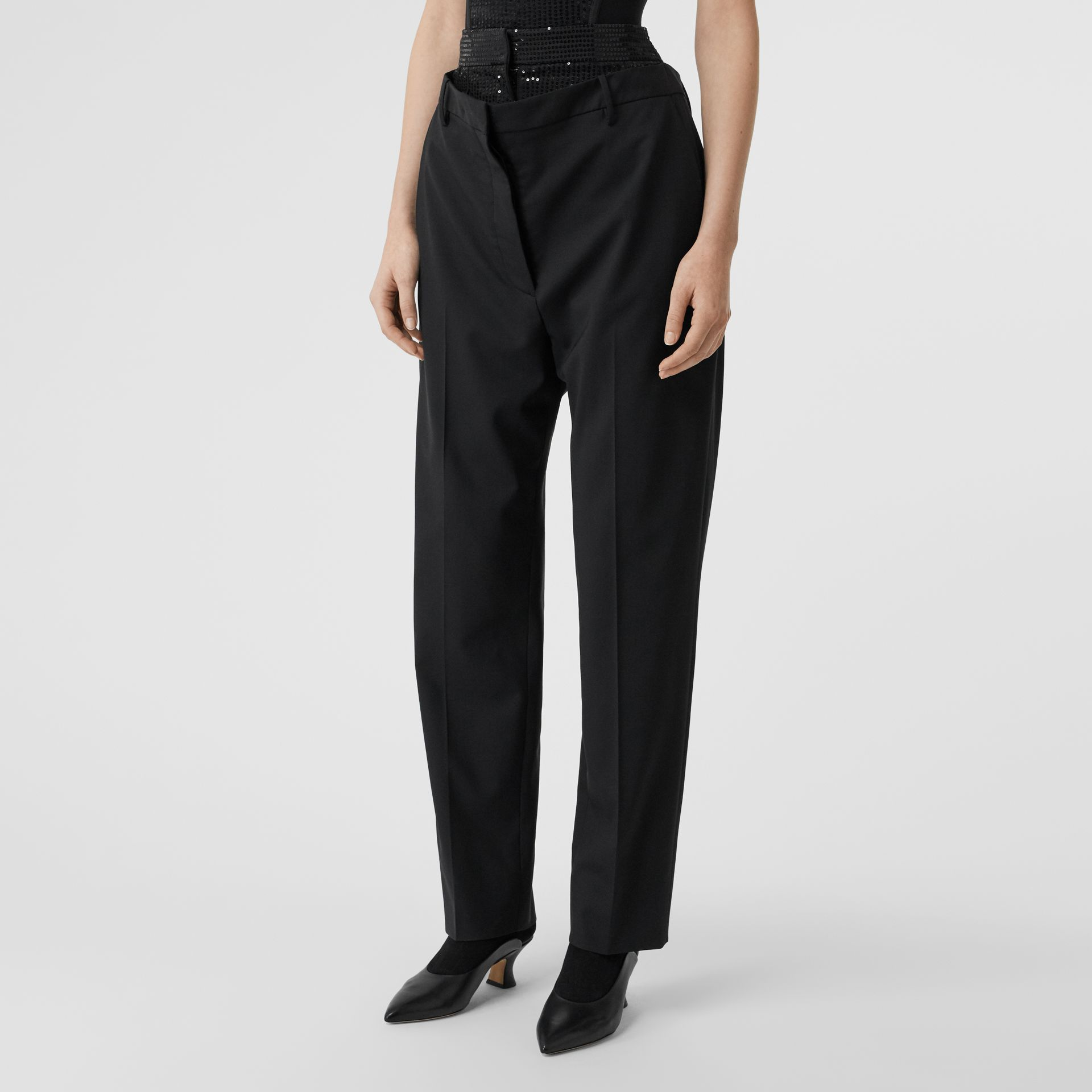 Sequinned Panel Double-waist Stretch Wool Trousers in Black - Women | Burberry - gallery image 4