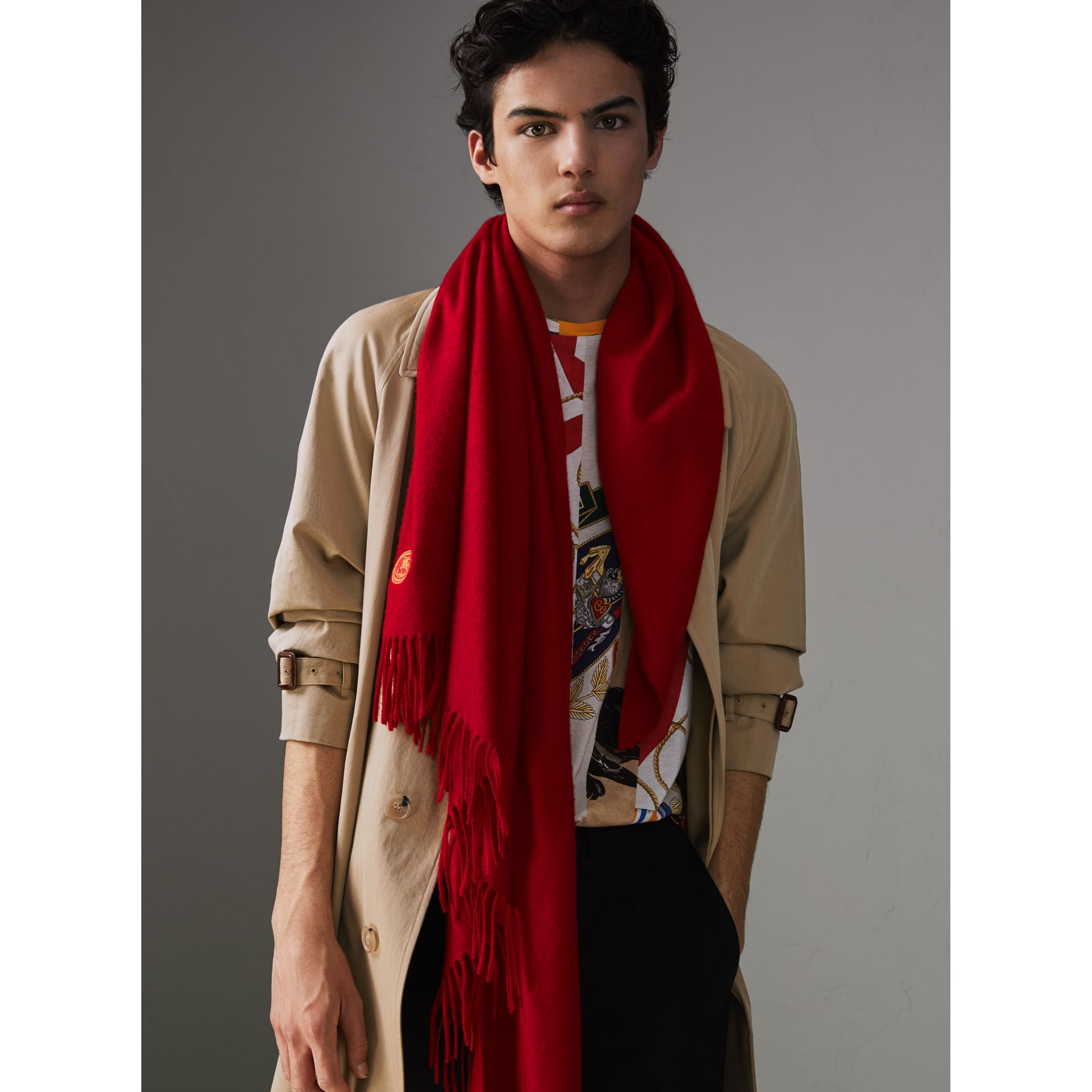 The Burberry Bandana in Embroidered Cashmere in Parade Red | Burberry Australia - gallery image 6