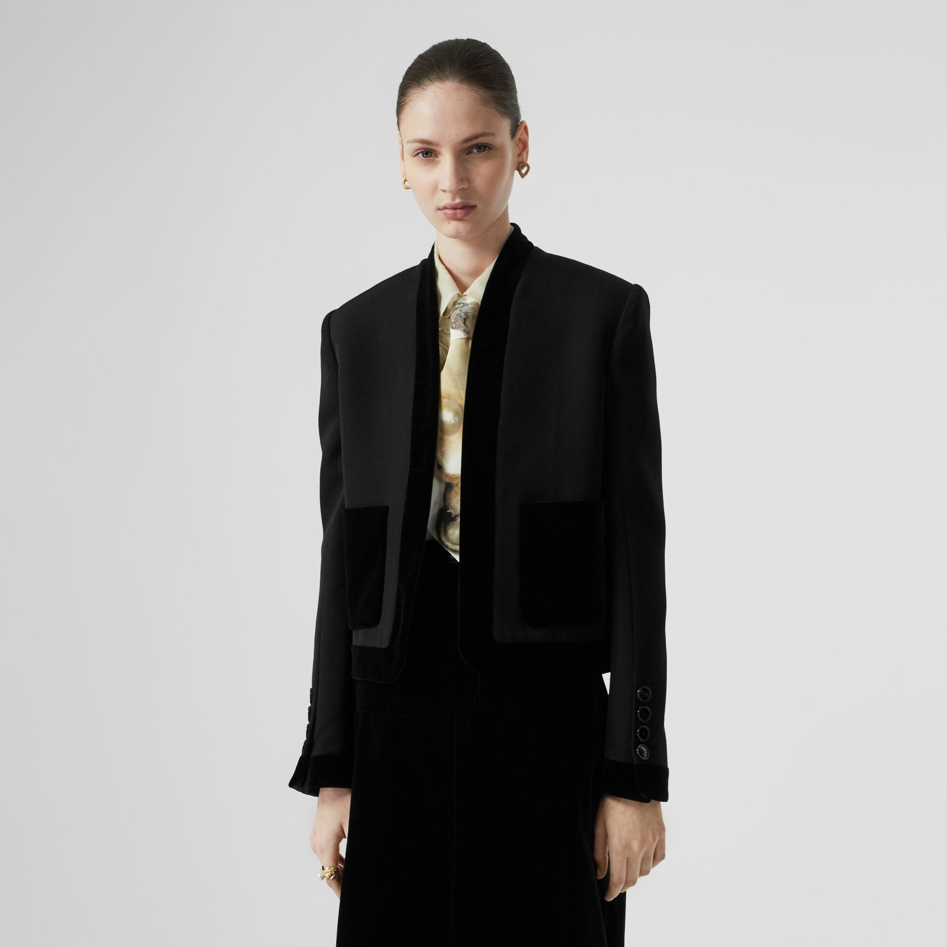 Velvet Detail Wool Tailored Jacket in Black - Women | Burberry - gallery image 4