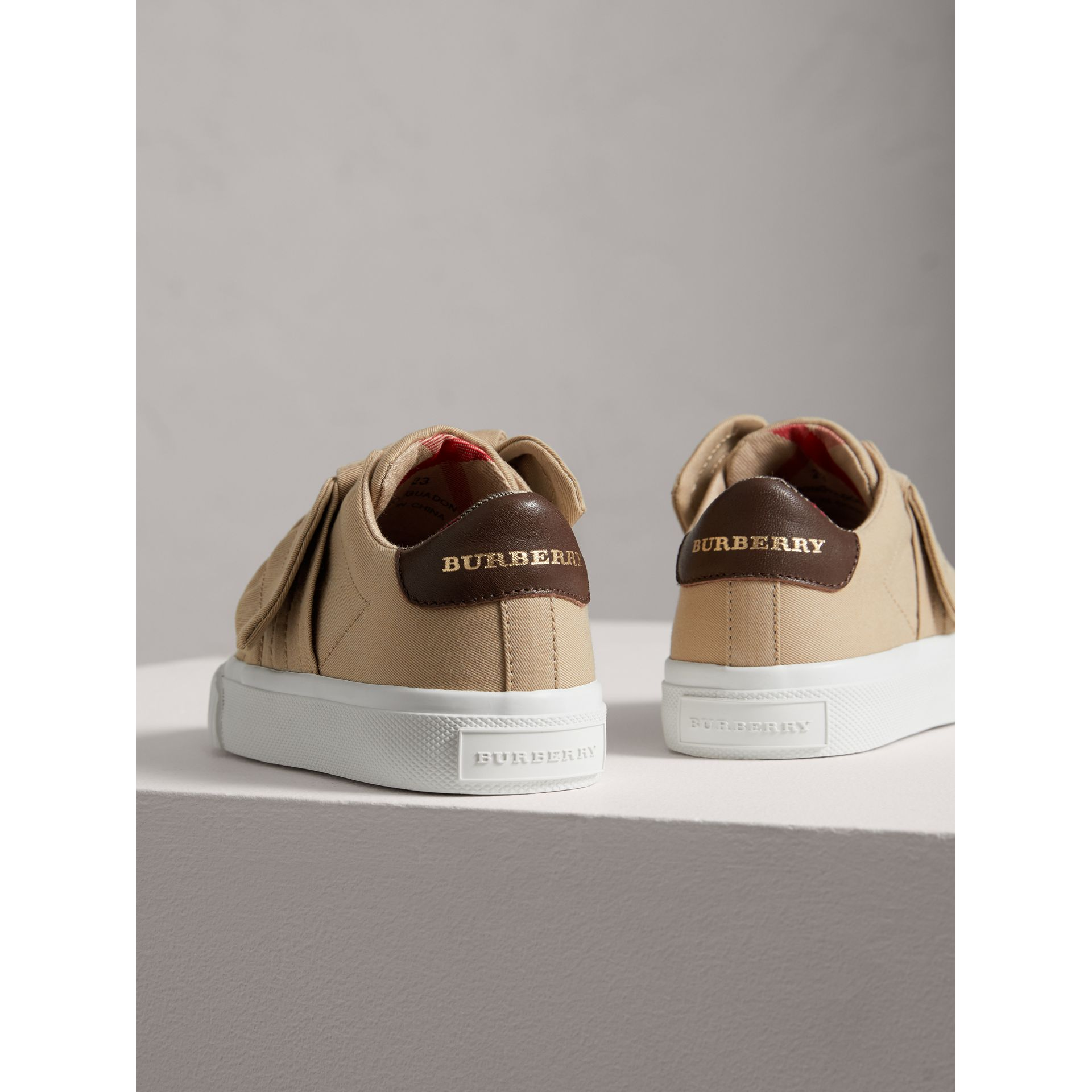 Trench Knot Cotton Gabardine Sneakers in Honey | Burberry - gallery image 2