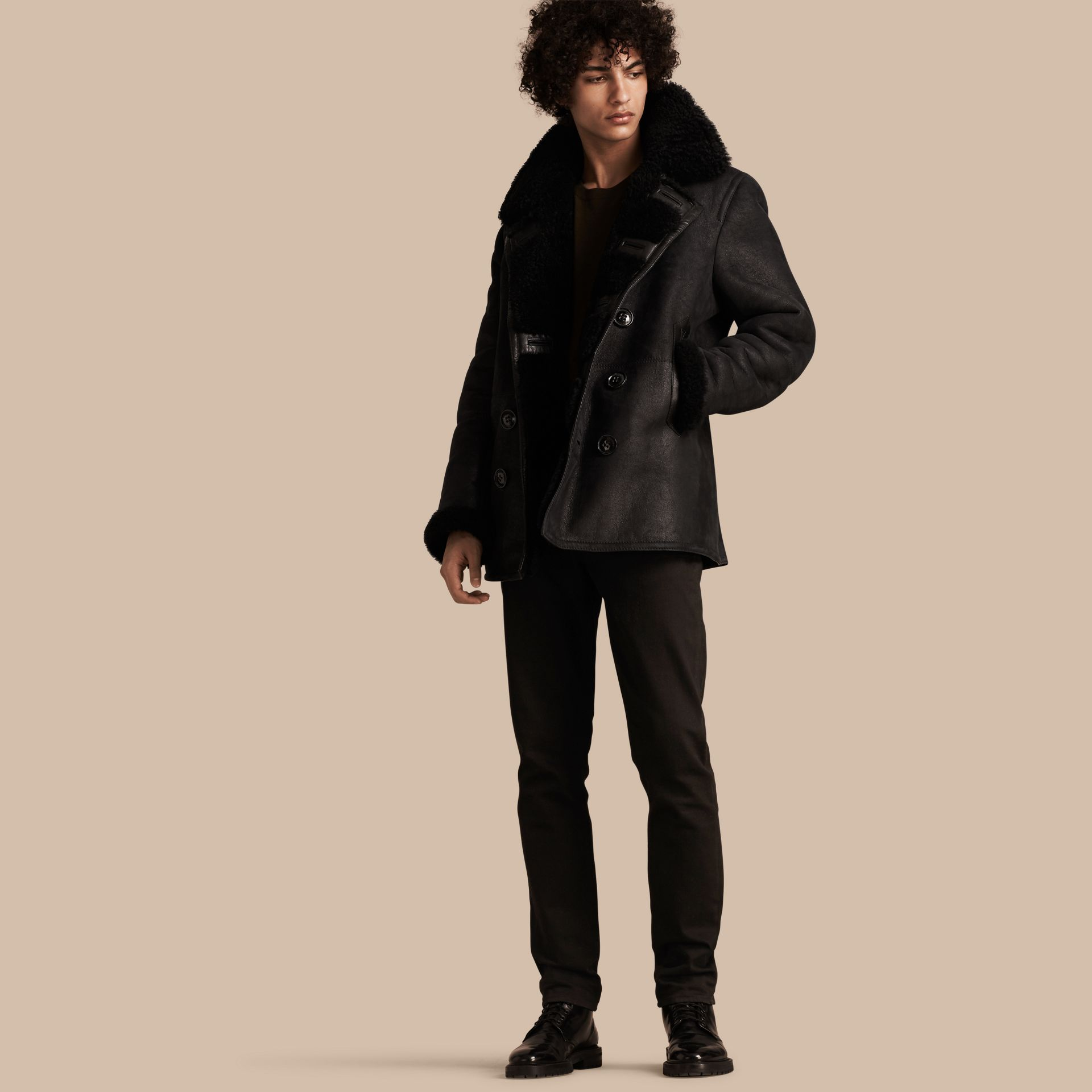 Black Shearling Pea Coat - gallery image 1