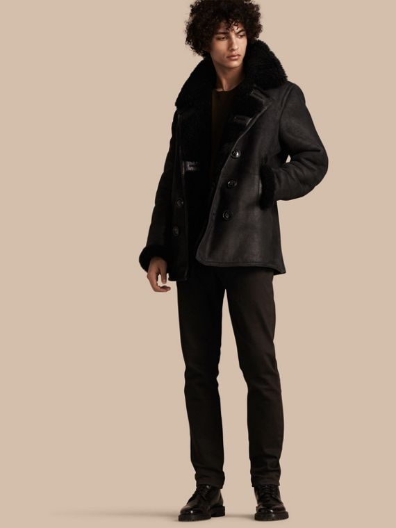 Pea coat in shearling