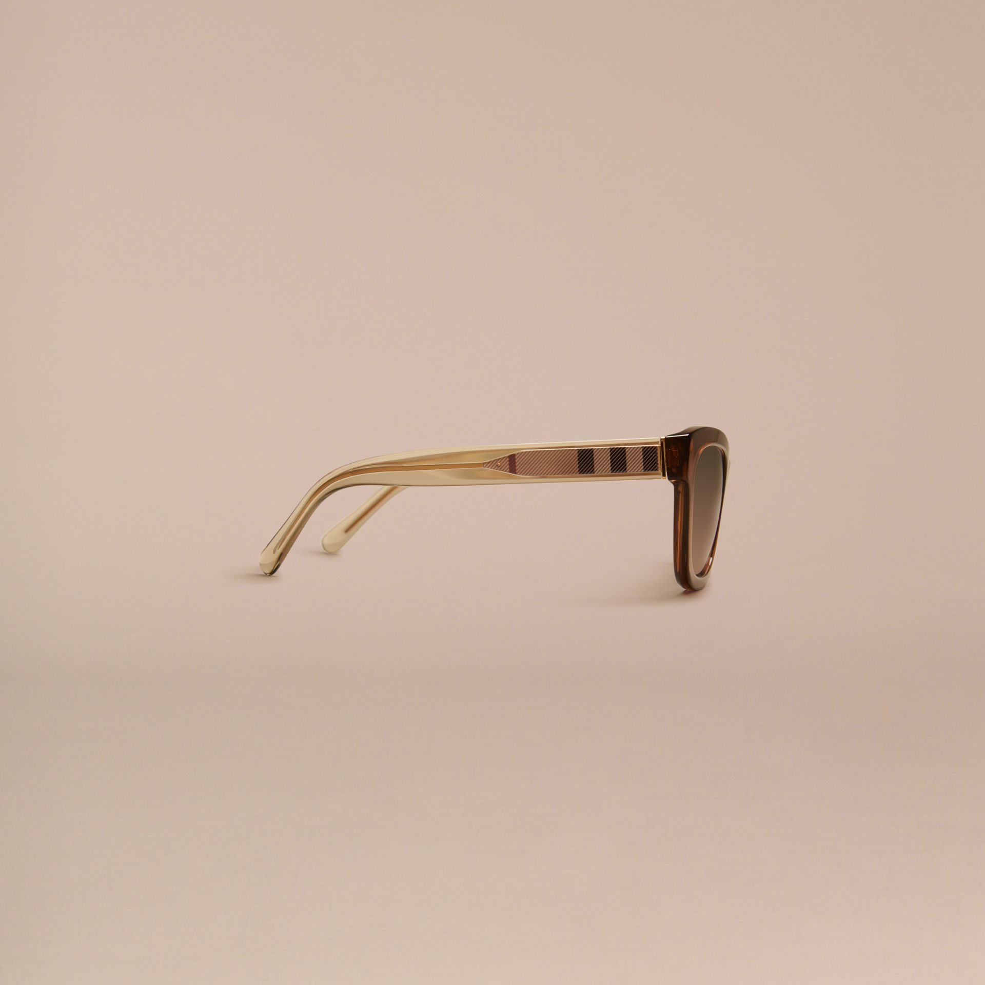Taupe brown Check Detail Cat-eye Frame Sunglasses Taupe Brown - gallery image 5