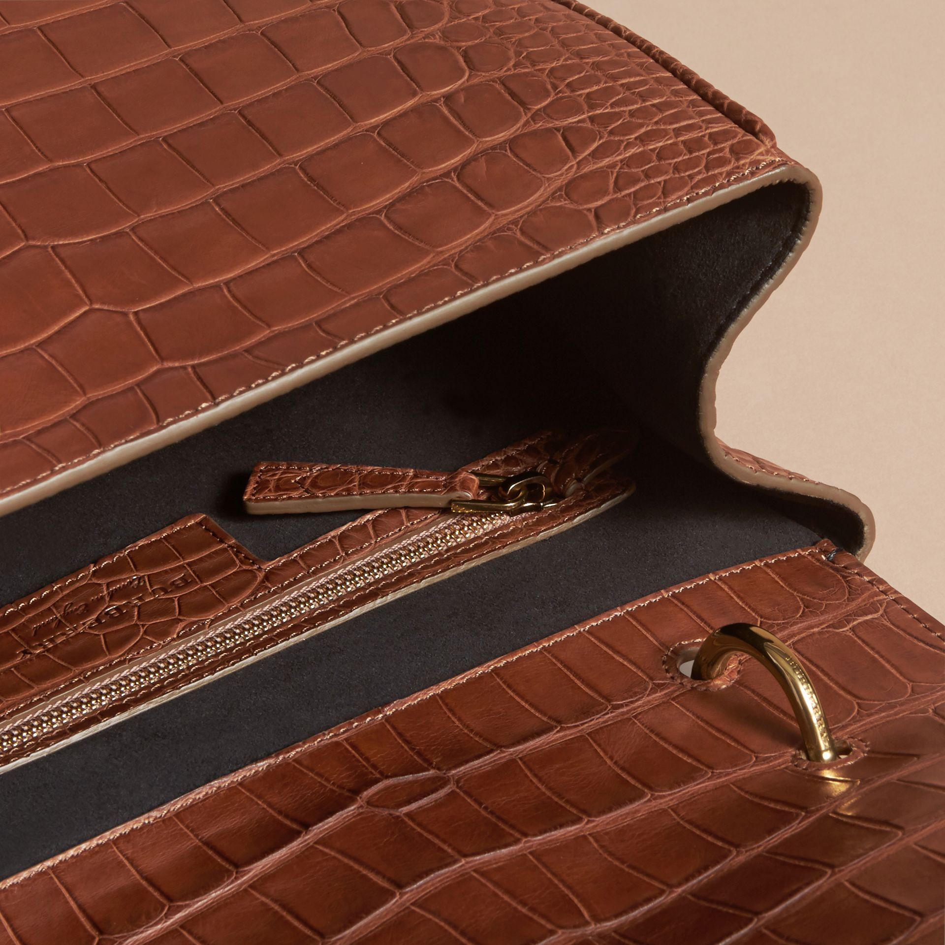 The Medium DK88 Top Handle Bag in Alligator in Tan - Women | Burberry - gallery image 3