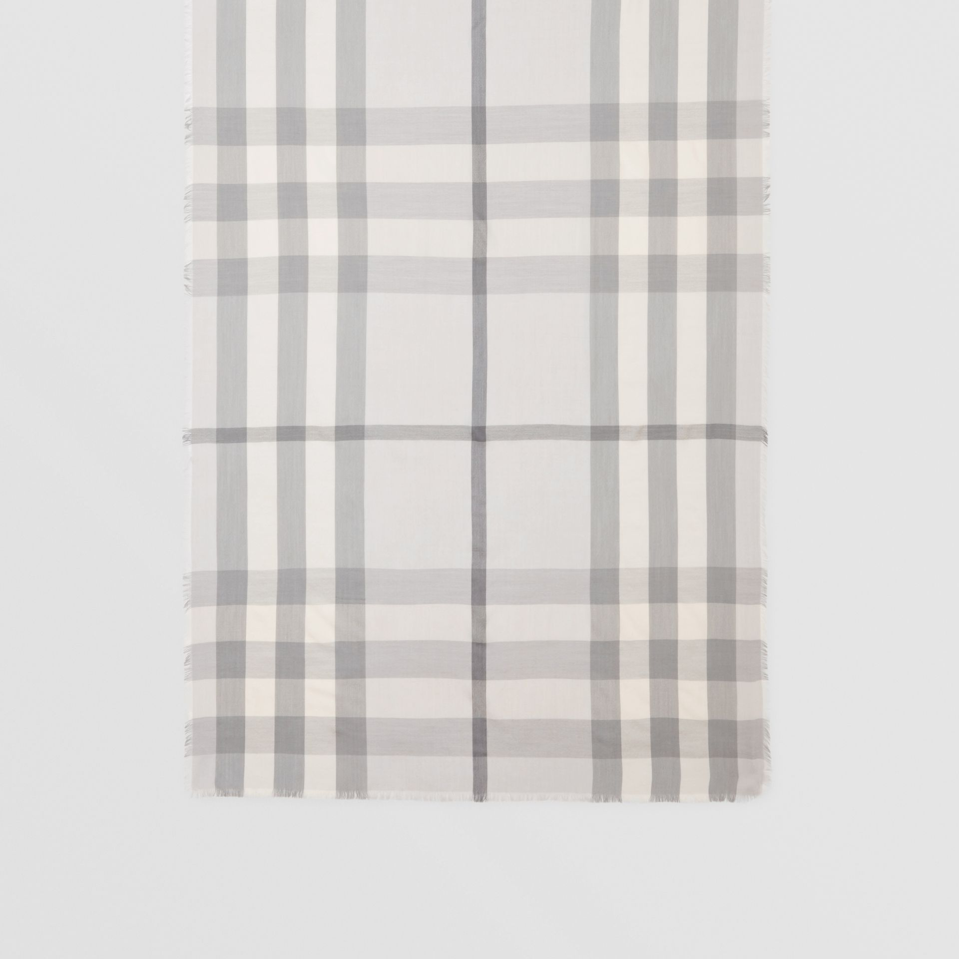 Lightweight Check Cashmere Scarf in White/light Grey | Burberry - gallery image 3