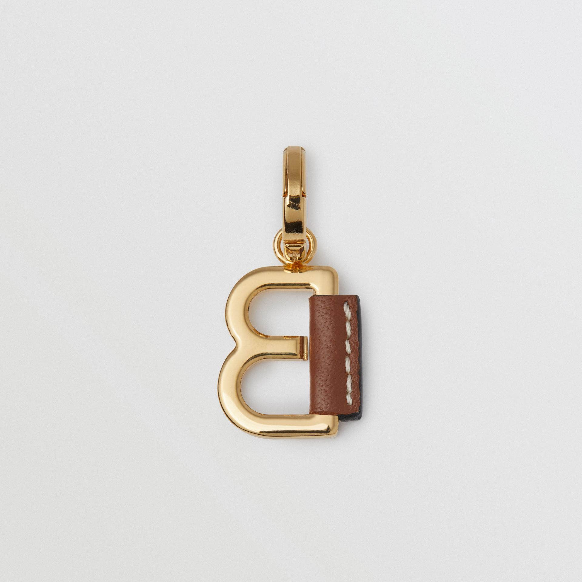Leather-wrapped 'B' Alphabet Charm in Light Gold/tan | Burberry - gallery image 3