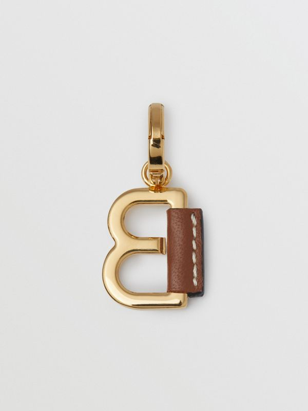 Leather-wrapped 'B' Alphabet Charm in Light Gold/tan | Burberry - cell image 3