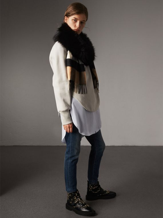 Fox Fur Trim Check Cashmere Scarf in Camel/black - Women | Burberry - cell image 2
