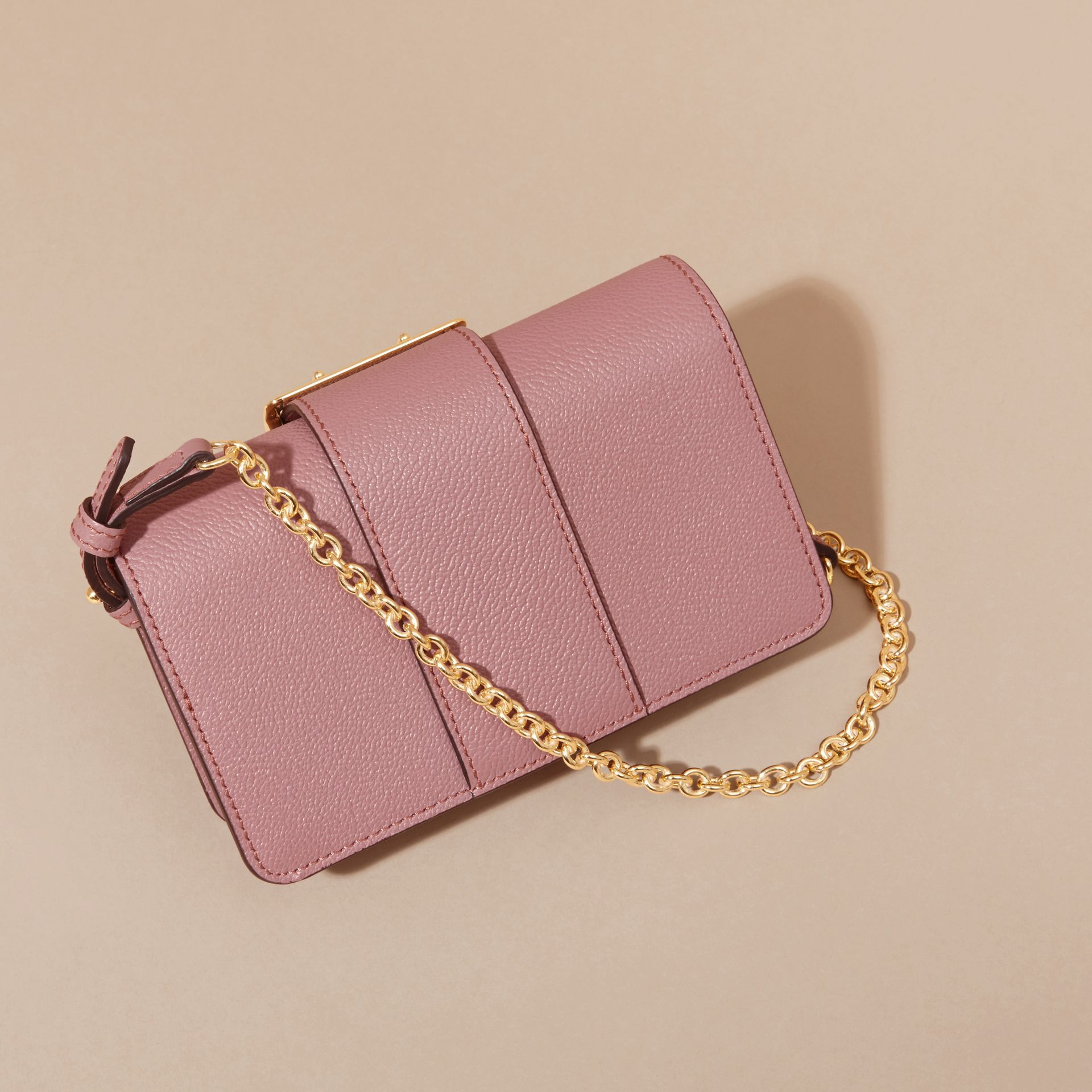 The Mini Buckle Bag in Grainy Leather Dusty Pink - gallery image 5