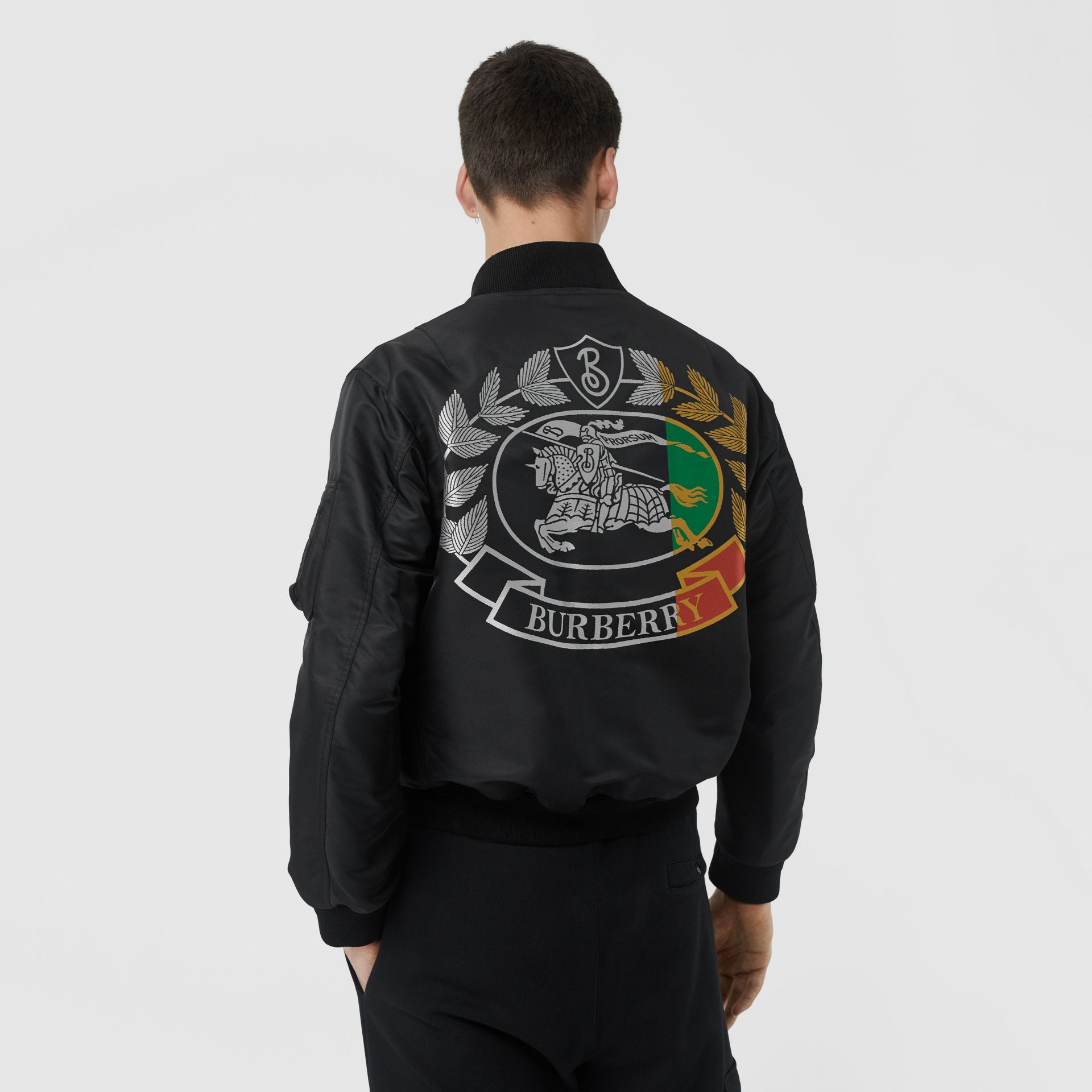 Crest Print Bomber Jacket in Black - Men | Burberry - gallery image 2