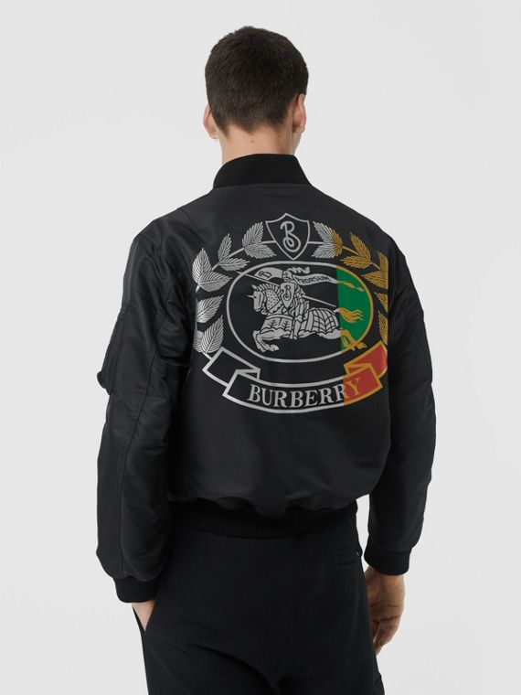 Crest Print Bomber Jacket in Black