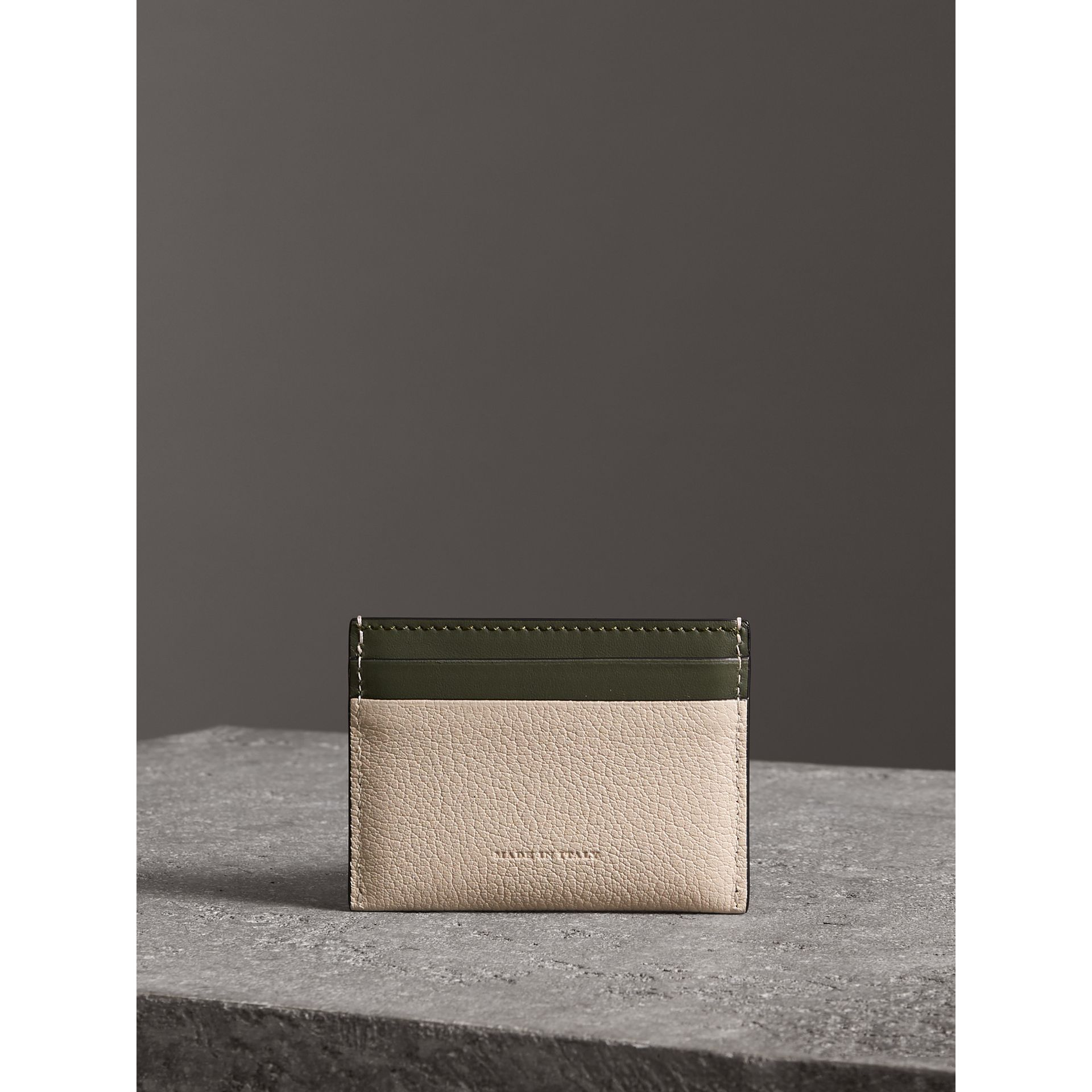 Two-tone Leather Card Case in Stone | Burberry - gallery image 2