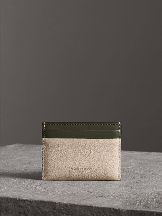 Two-tone Leather Card Case in Stone | Burberry - cell image 2
