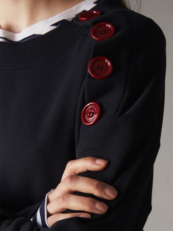 Resin Button Cotton Sweatshirt - Women | Burberry - cell image 3