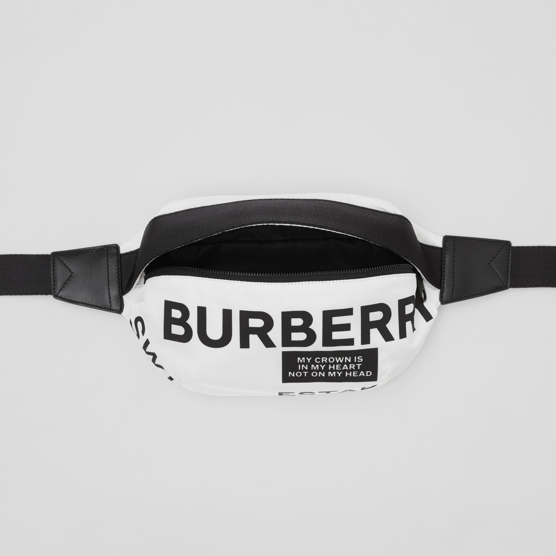 Medium Logo Print Bum Bag in White | Burberry - gallery image 5