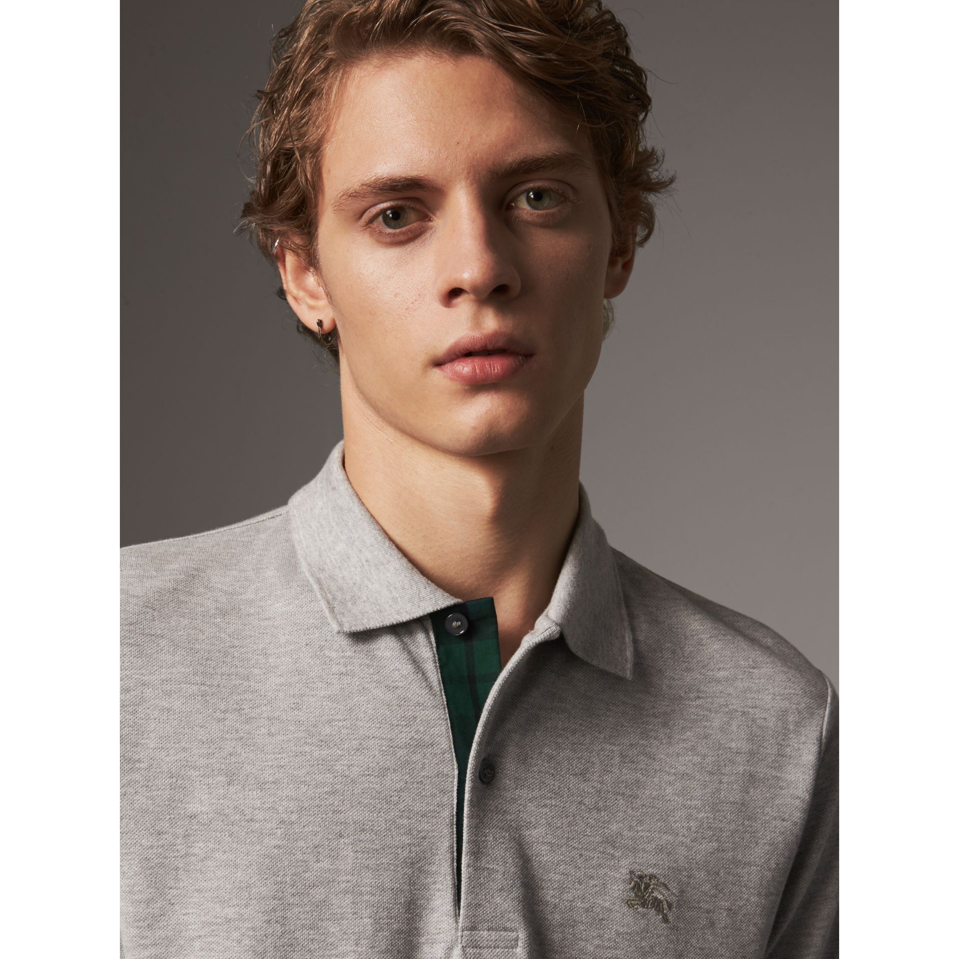 Tartan Trim Cotton Piqué Polo Shirt in Pale Grey Melange - Men | Burberry - gallery image 1