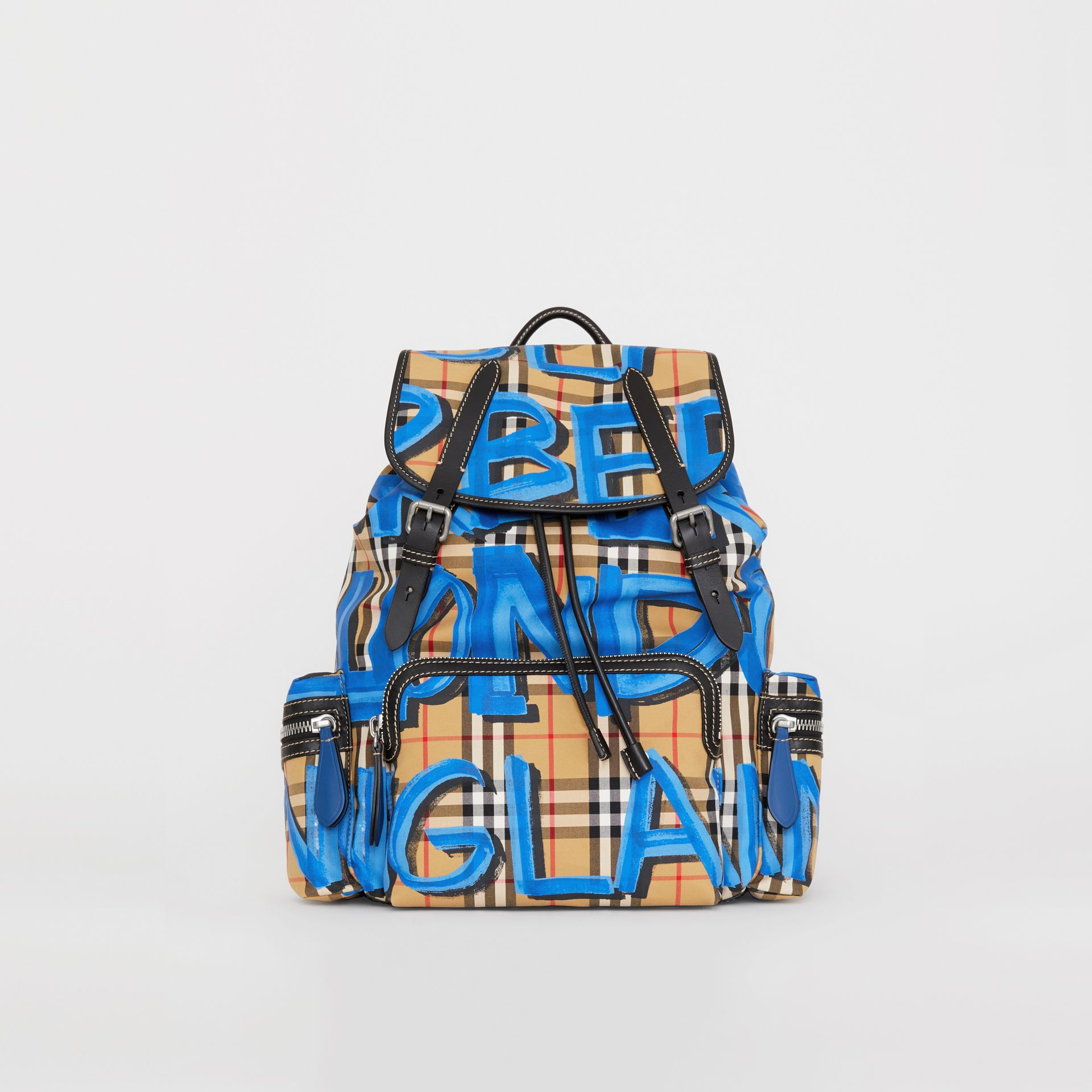 The Large Rucksack in Graffiti Print Vintage Check in Canvas Blue/antique Yellow | Burberry - gallery image 2