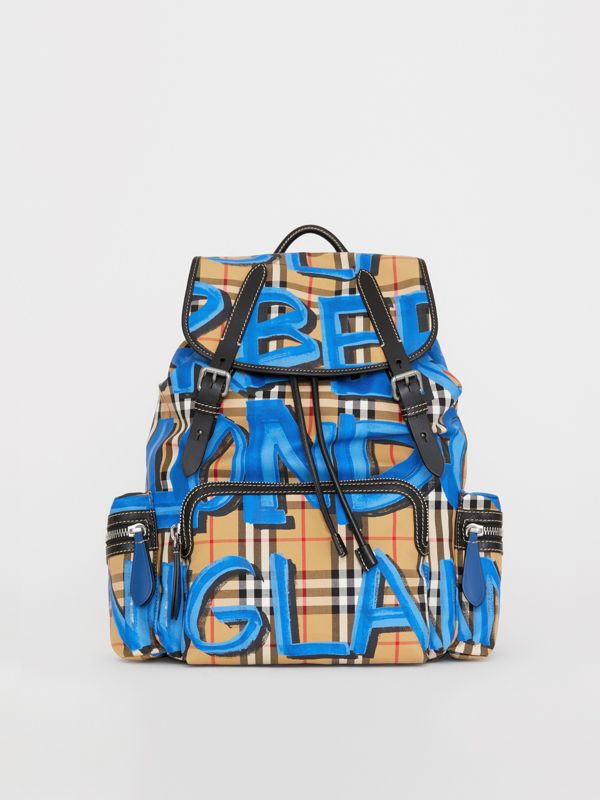 The Large Rucksack in Graffiti Print Vintage Check in Canvas Blue/antique Yellow | Burberry - cell image 2