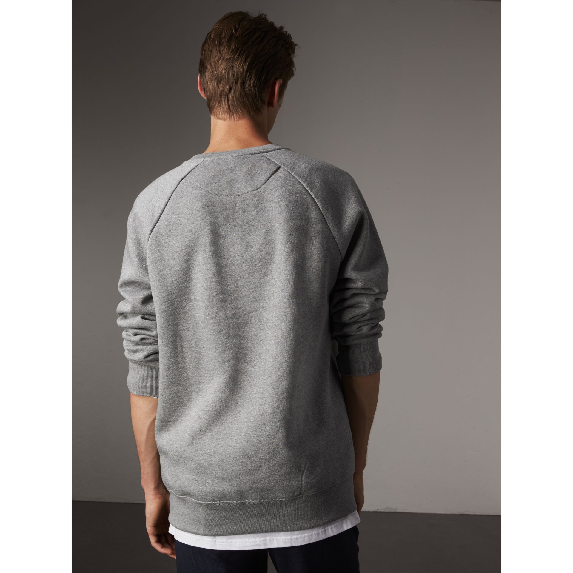 Open Spaces Graphic Motif Cotton Blend Sweatshirt in Pale Grey Melange - Men | Burberry Australia - gallery image 3
