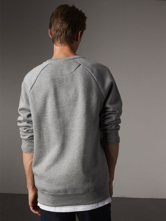 Open Spaces Graphic Motif Cotton Blend Sweatshirt in Pale Grey Melange - Men | Burberry - cell image 2