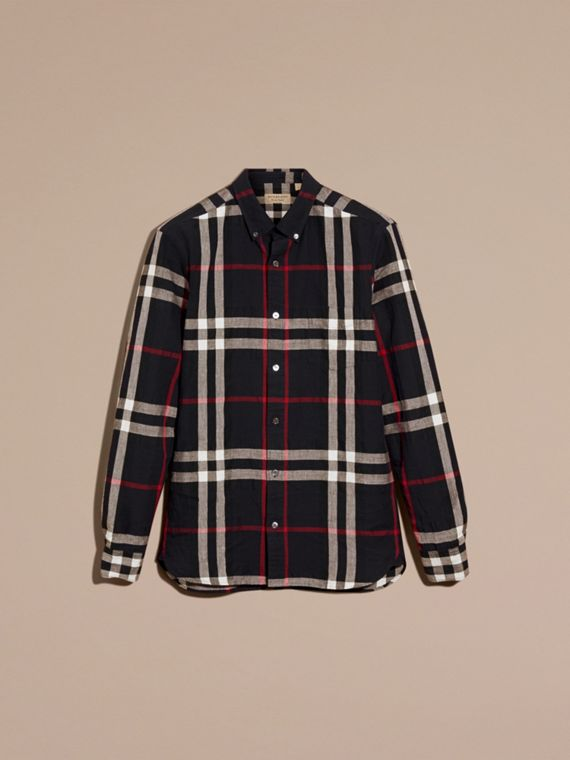 Button-down Collar Check Linen Cotton Shirt Navy - cell image 3