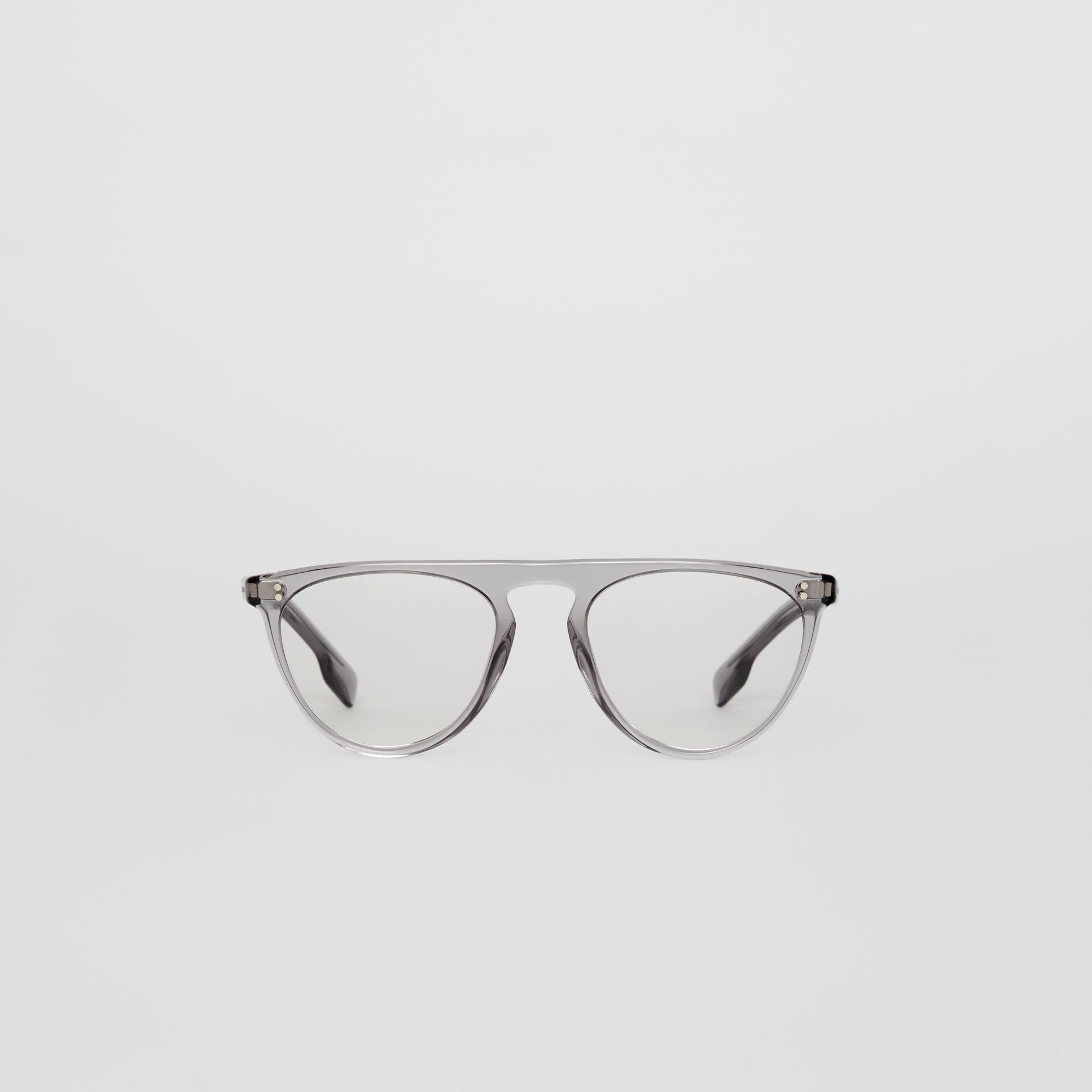 Keyhole D-shaped Optical Frames in Grey - Men | Burberry - gallery image 0