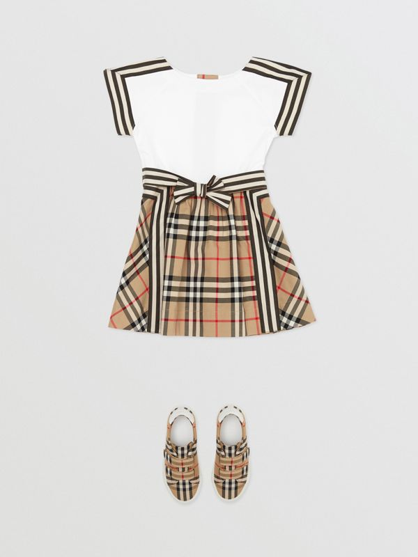 Vintage Check Detail Cotton Dress in Archive Beige - Children | Burberry United Kingdom - cell image 2