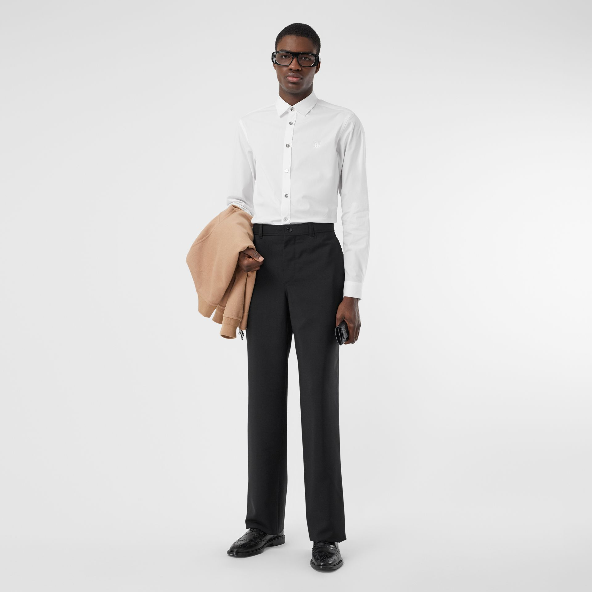 Monogram Motif Stretch Cotton Poplin Shirt in White - Men | Burberry United Kingdom - gallery image 4