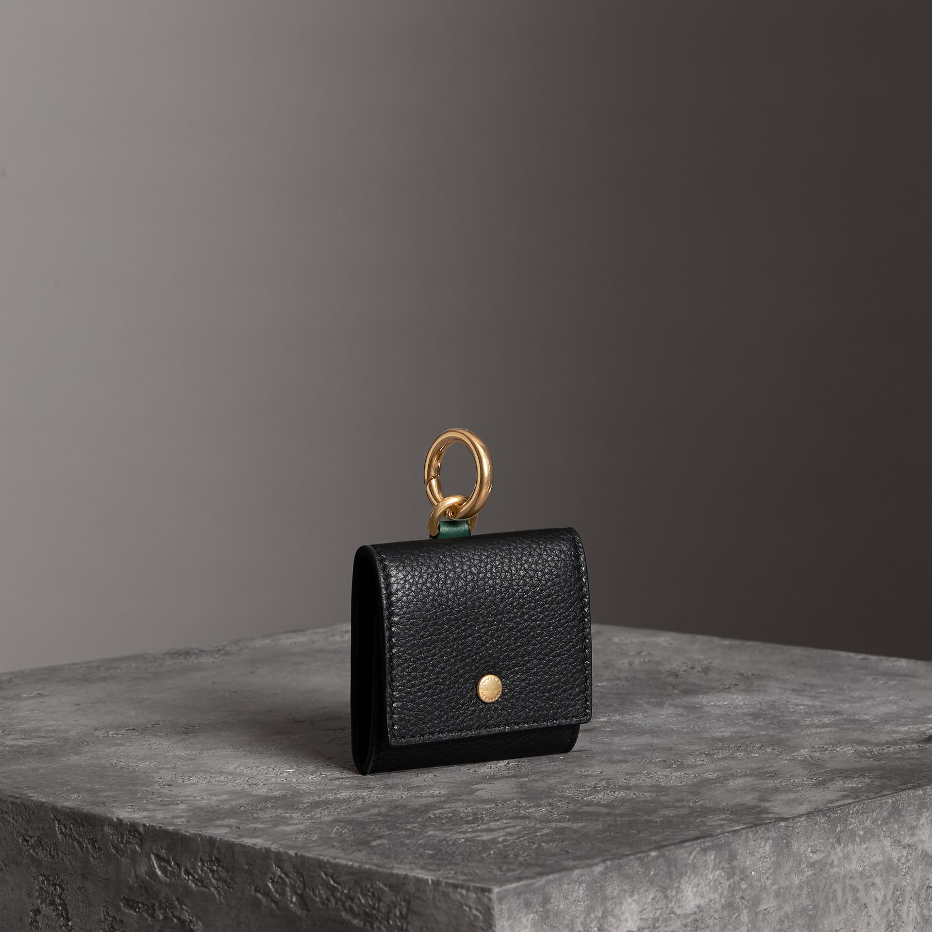Small Square Leather Coin Case Charm in Black/sea Green - Women | Burberry Canada - gallery image 0