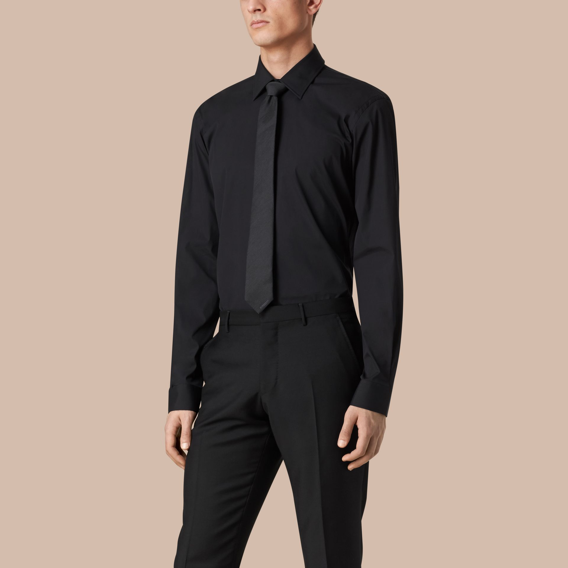 Modern Fit Stretch Cotton Shirt in Black - Men | Burberry - gallery image 1
