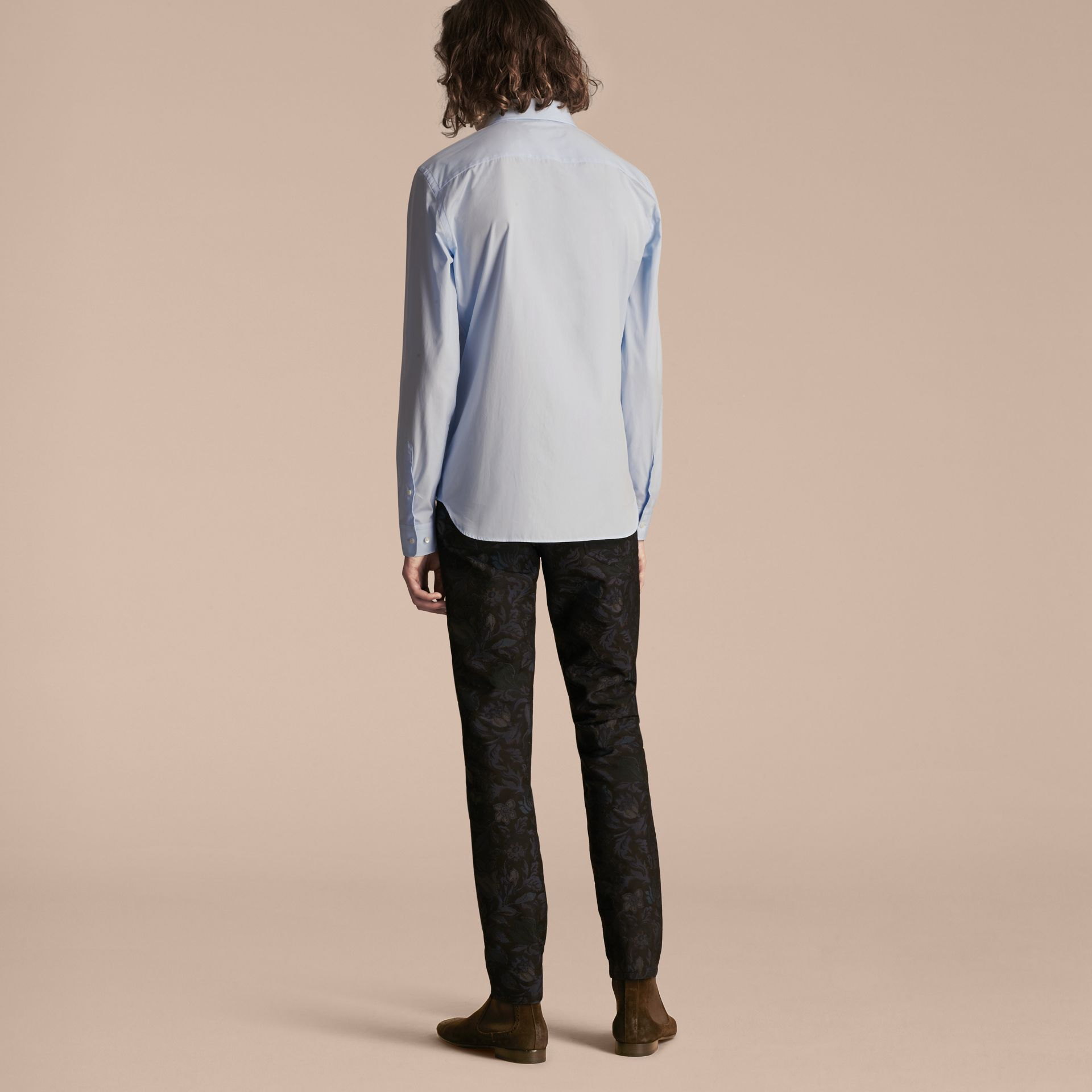 Pale sky blue Cotton Poplin Shirt with Pyjama Stripe Pocket - gallery image 3