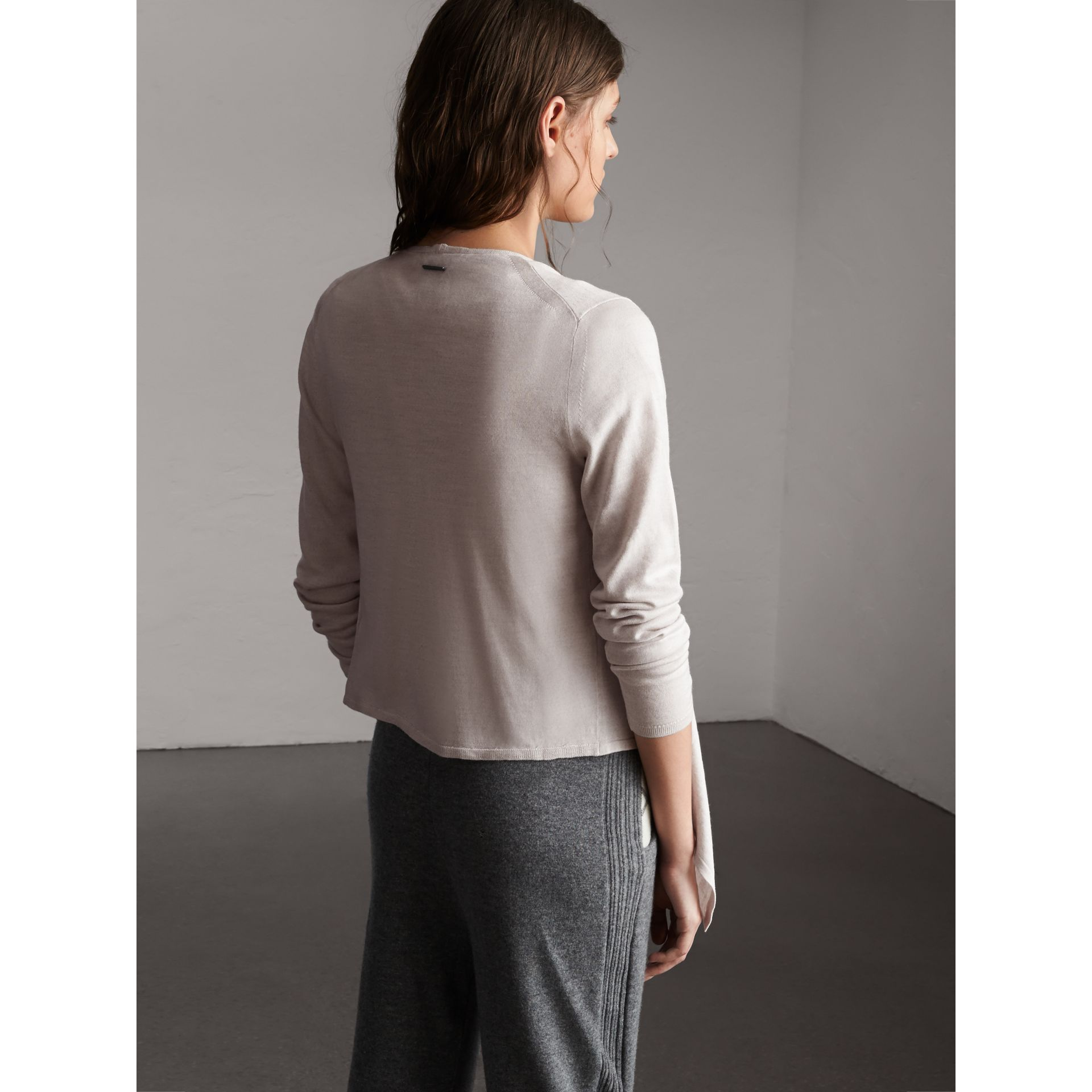 Merino Wool Silk Open Cardigan in Light Grey Melange - Women | Burberry - gallery image 3