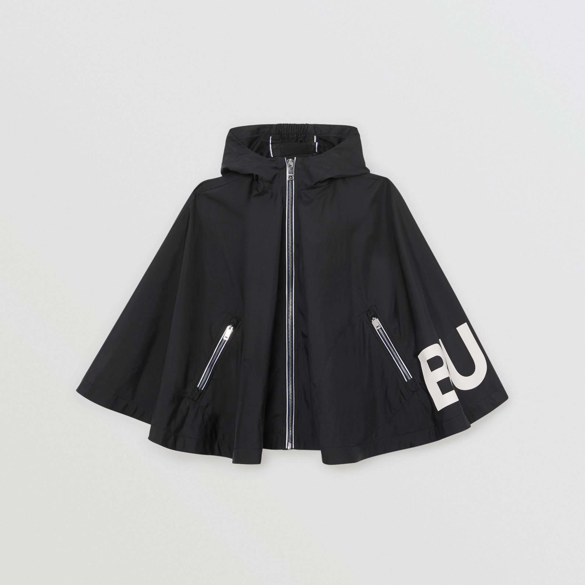 Logo Print Hooded Cape in Black | Burberry United Kingdom - gallery image 0
