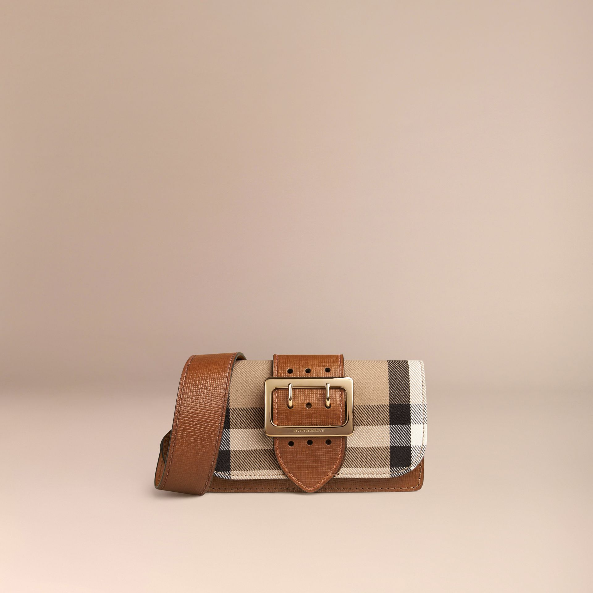 Tan The Small Buckle Bag in House Check and Leather Tan - gallery image 8