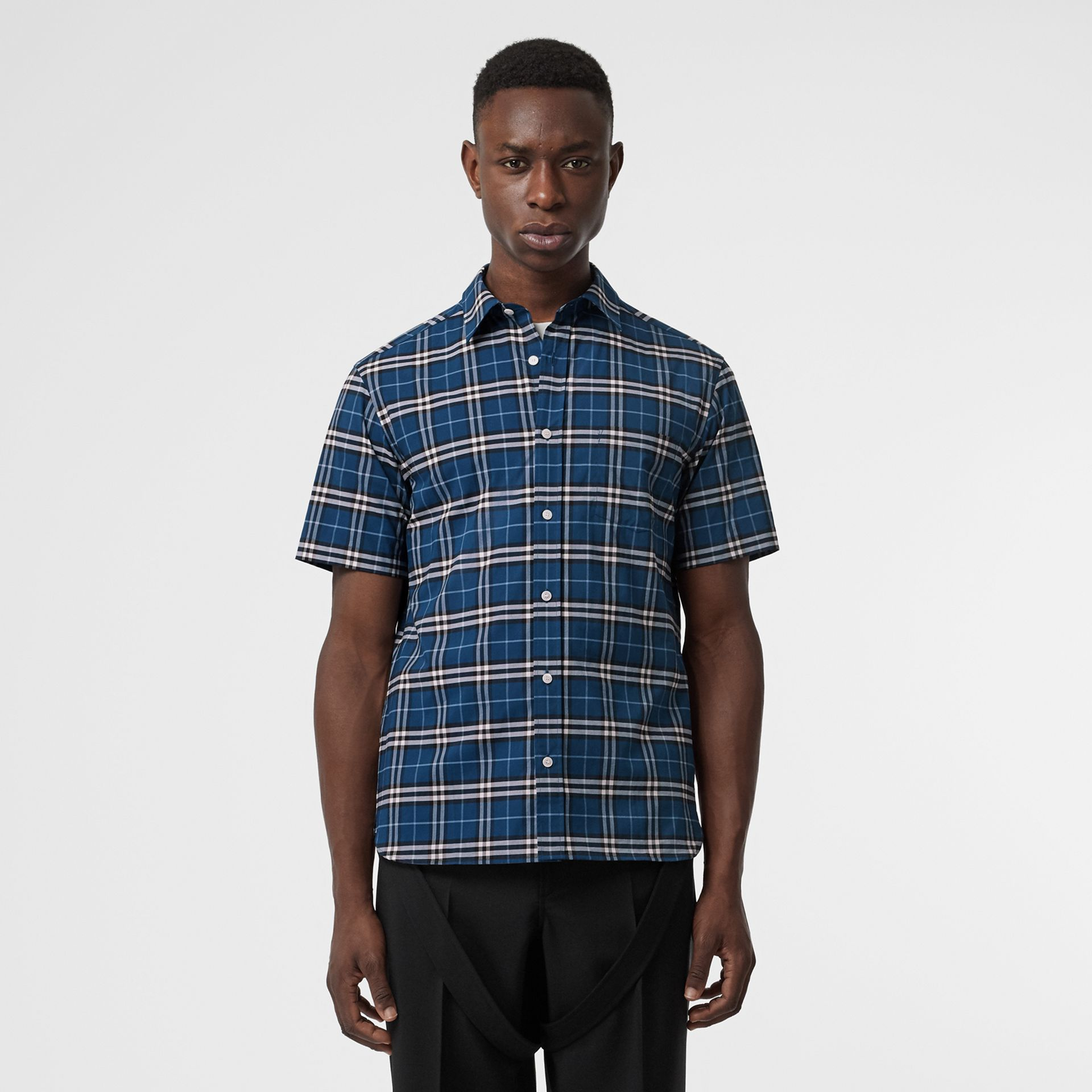 Short-sleeve Check Stretch Cotton Shirt in Steel Blue - Men | Burberry - gallery image 0