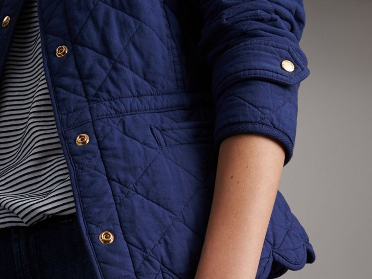 Scalloped Diamond Quilted Cotton Jacket in Indigo - Women | Burberry - cell image 1