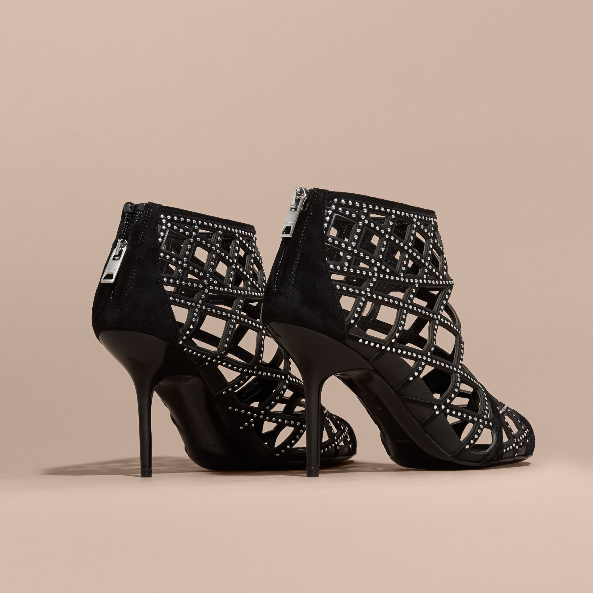 Black Studded Cut-out Leather Peep-toe Ankle Boots - gallery image 4