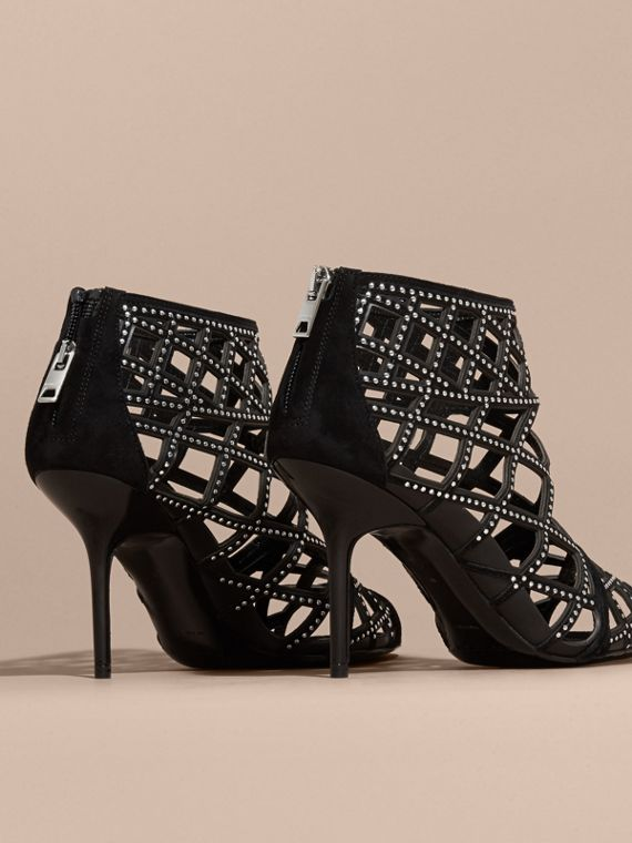 Black Studded Cut-out Leather Peep-toe Ankle Boots - cell image 3