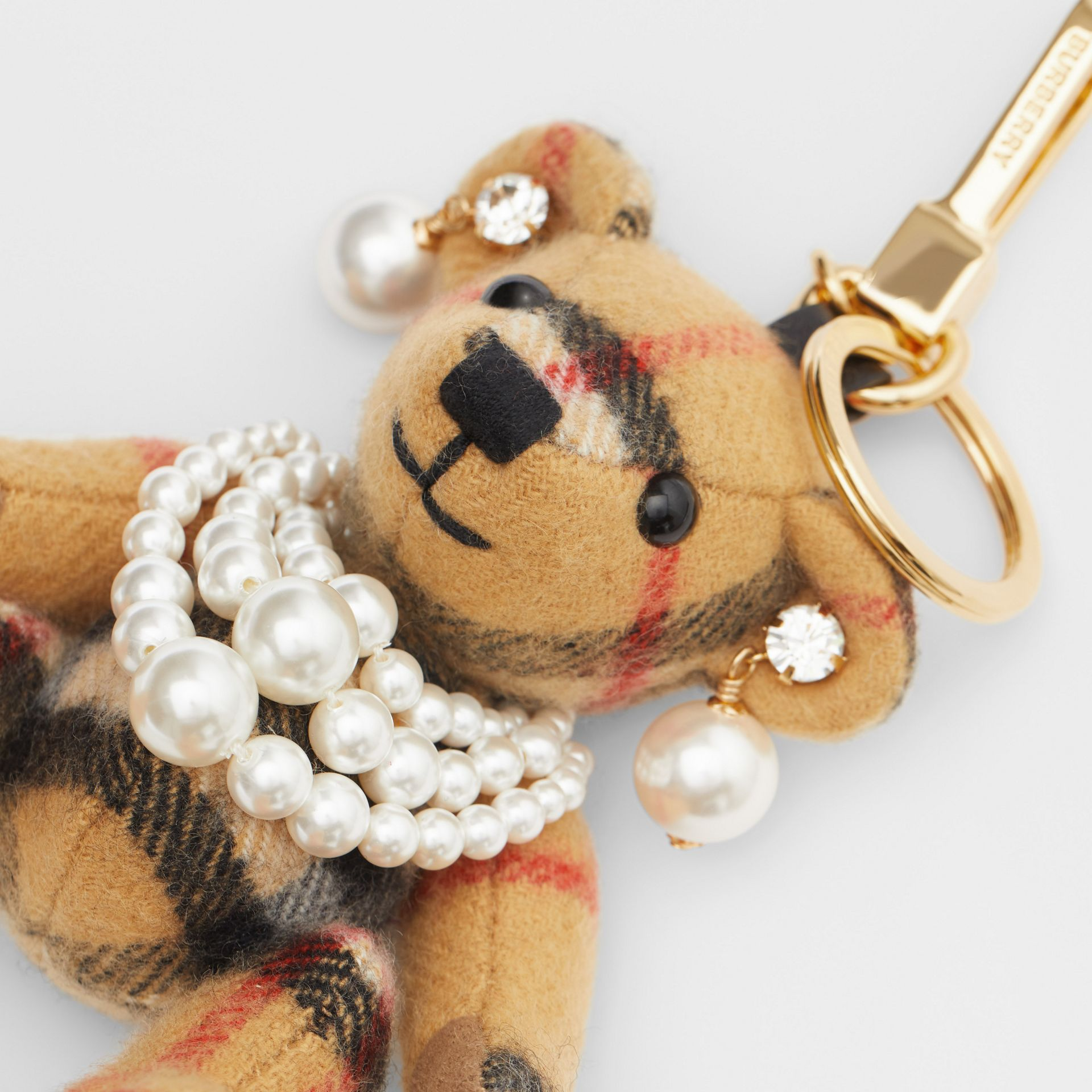 Thomas Bear Charm with Faux Pearls in Antique Yellow - Women | Burberry Australia - gallery image 1