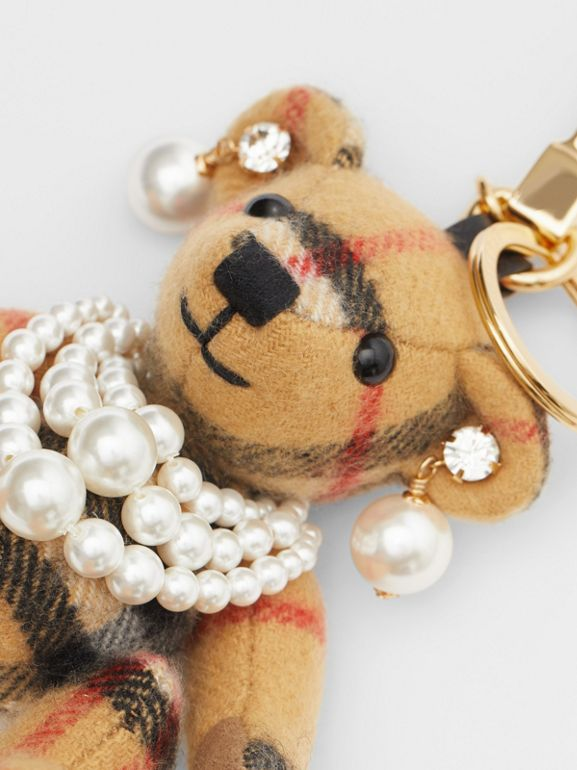 Thomas Bear Charm with Faux Pearls in Antique Yellow - Women | Burberry United Kingdom - cell image 1
