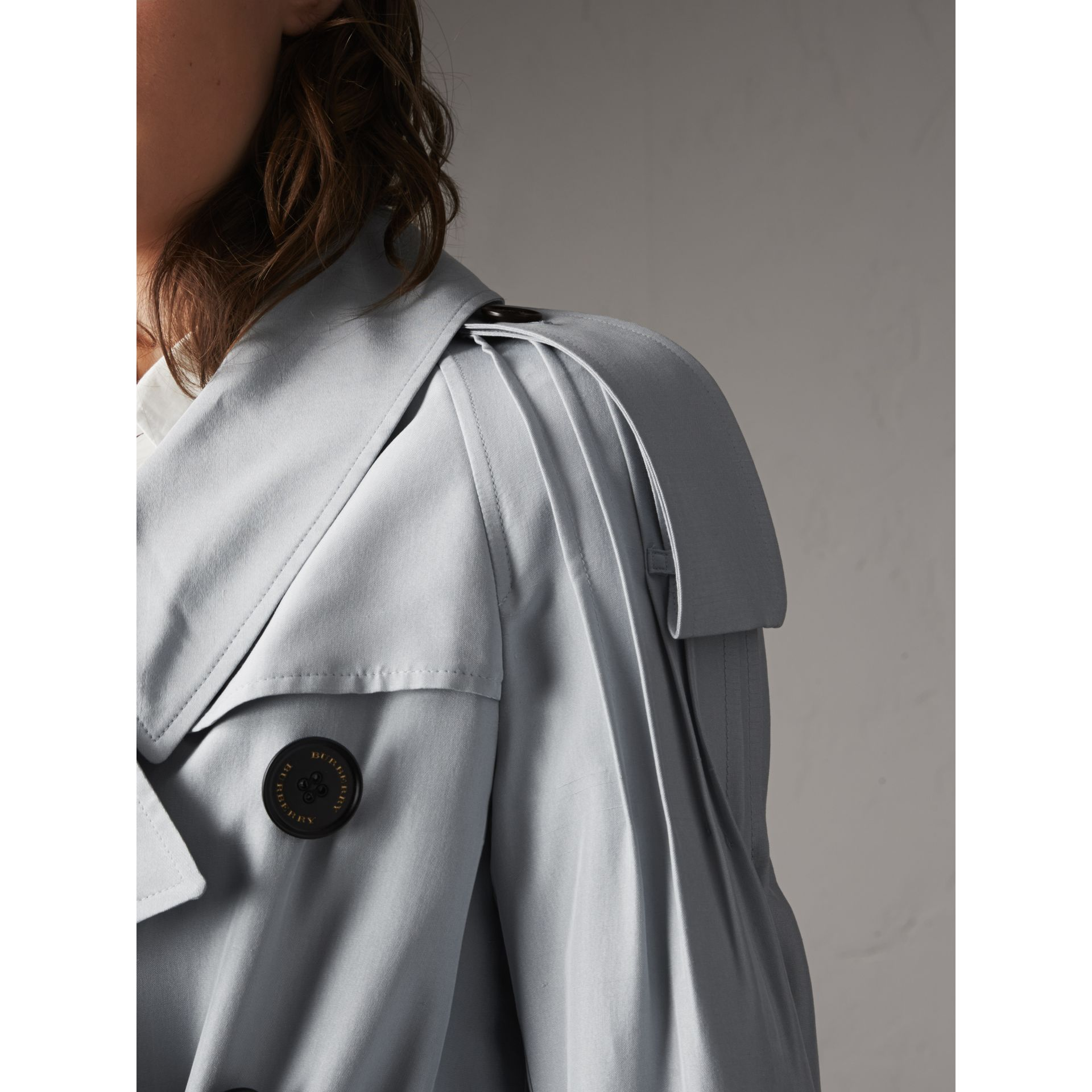 Ruffle Detail Silk Trench Coat in Pale Slate Blue - Women | Burberry - gallery image 2