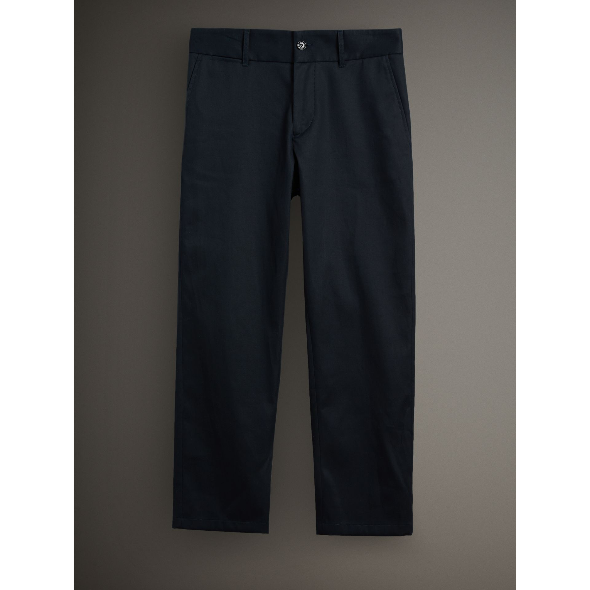 Cotton Twill Cropped Chinos in Navy - Men | Burberry - gallery image 3