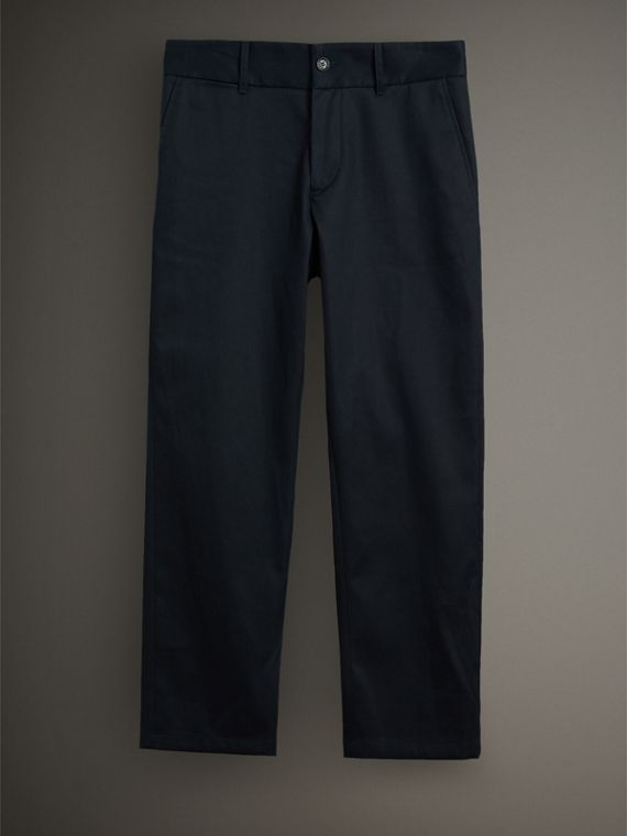 Cotton Twill Cropped Chinos in Navy - Men | Burberry Singapore - cell image 3