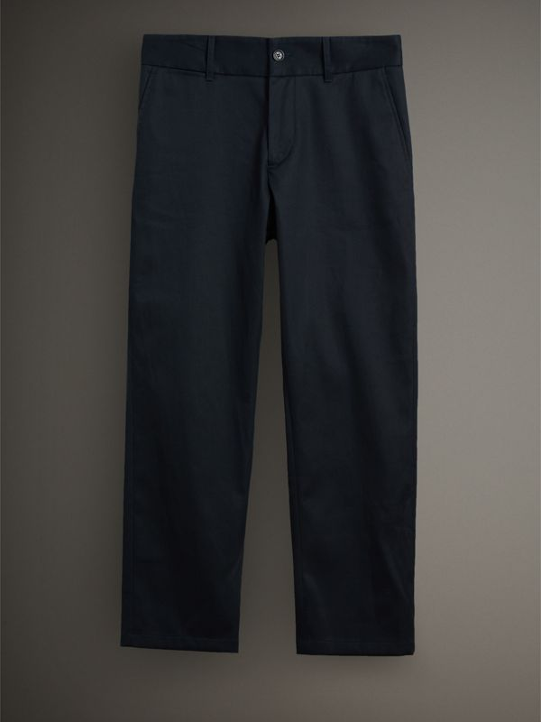 Cotton Twill Cropped Chinos in Navy - Men | Burberry - cell image 3