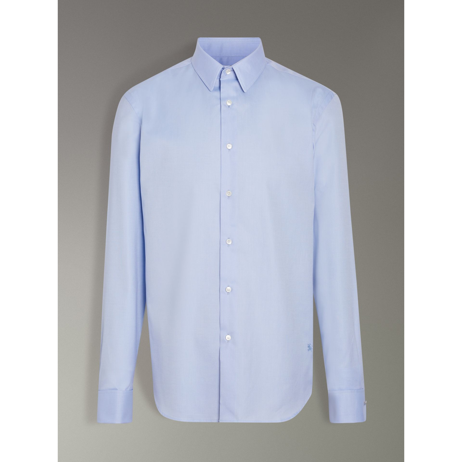 Modern Fit Double Cuff Cotton Shirt in Mid Blue - Men | Burberry - gallery image 3
